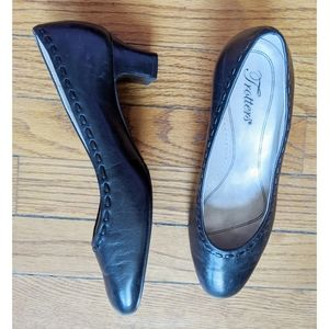 Trotters Black Leather Pumps, Wide Fit Heels